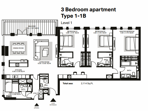 Planning of the apartment 3BR, 2114 in Bluewaters Residences, Dubai