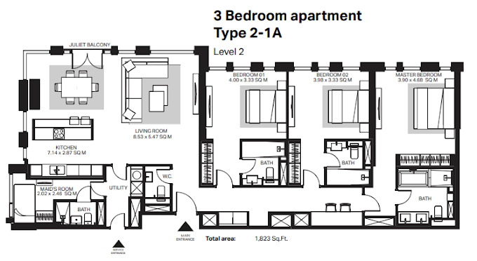 Planning of the apartment 3BR, 1823 in Bluewaters Residences, Dubai