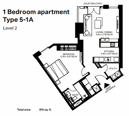 Planning of the apartment 1BR, 815 in Bluewaters Residences, Dubai