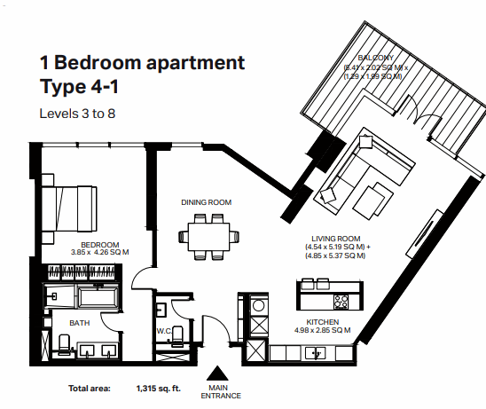 Planning of the apartment 1BR, 1315 in Bluewaters Residences, Dubai
