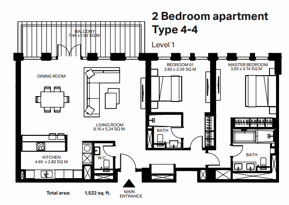 Planning of the apartment 2BR, 1522 in Bluewaters Residences, Dubai