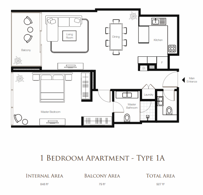 Planning of the apartment 1BR, 927 in Banyan Tree Residences, Dubai