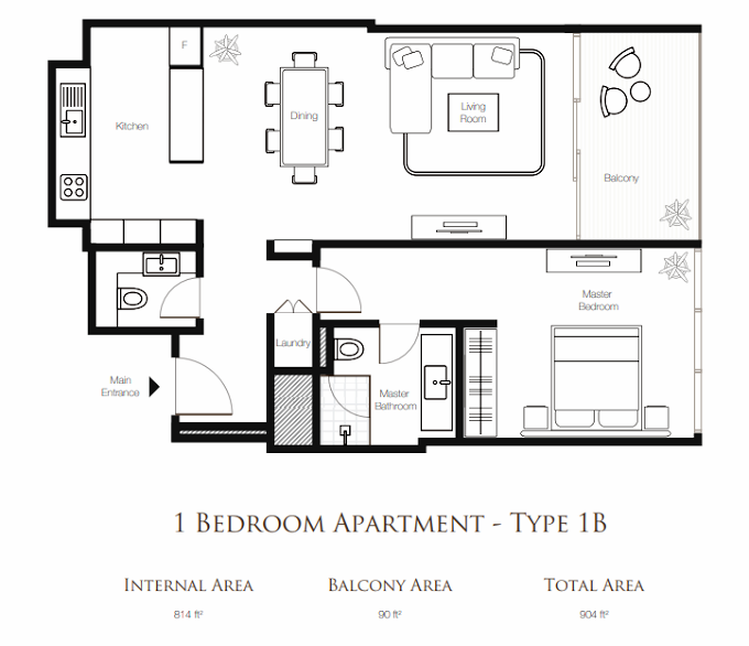Planning of the apartment 1BR, 904 in Banyan Tree Residences, Dubai