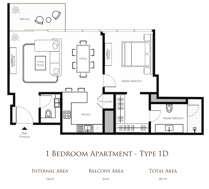 Planning of the apartment 1BR, 857 in Banyan Tree Residences, Dubai