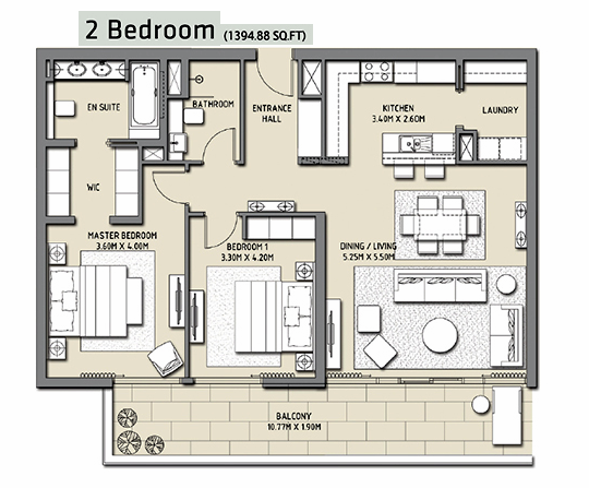 Planning of the apartment 2BR, 1394.88 in The Hills, Dubai