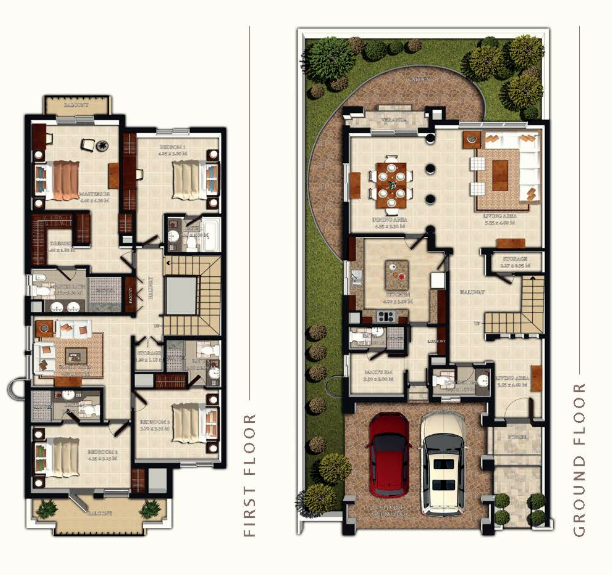 Planning of the apartment Townhouses 4BR, 3587 in Redwood Park Townhouses, Dubai