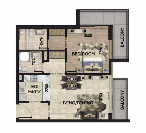 Planning of the apartment 1BR, 944 in MS Zeest International City, Dubai