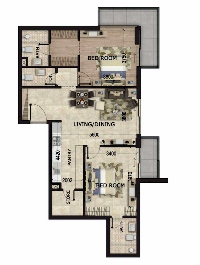 Planning of the apartment 2BR, 1090 in MS Zeest International City, Dubai