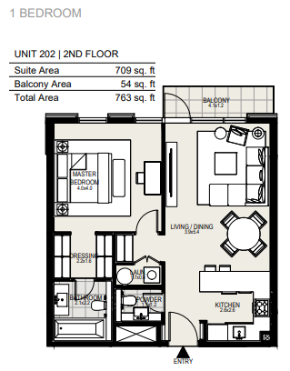 Planning of the apartment 1BR, 763 in District One Residences, Dubai