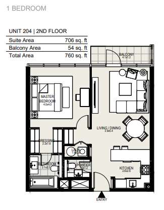 Planning of the apartment 1BR, 760 in District One Residences, Dubai