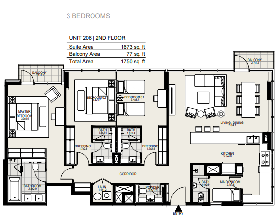Planning of the apartment 3BR, 1750 in District One Residences, Dubai