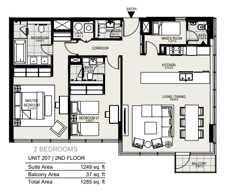 Planning of the apartment 2BR, 1285 in District One Residences, Dubai