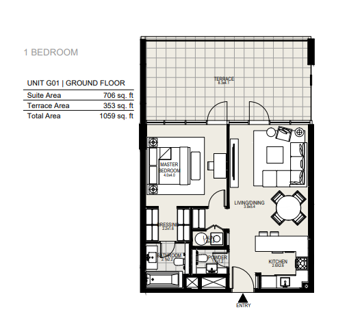 Planning of the apartment 1BR, 1059 in District One Residences, Dubai