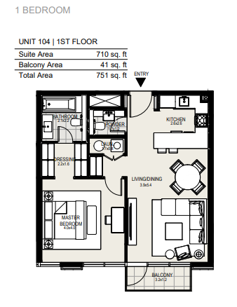 Planning of the apartment 1BR, 751 in District One Residences, Dubai