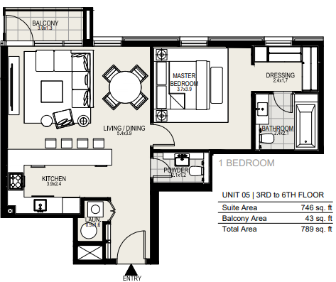 Planning of the apartment 1BR, 789 in District One Residences, Dubai