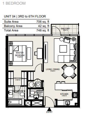 Planning of the apartment 1BR, 748 in District One Residences, Dubai