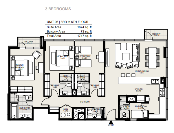 Planning of the apartment 3BR, 1747 in District One Residences, Dubai
