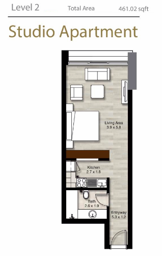 Planning of the apartment Studios, 461.02 in LIV Residence Apartments, Dubai