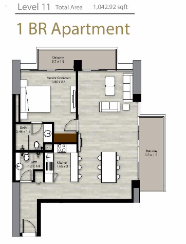 Planning of the apartment 1BR, 1042.92 in LIV Residence Apartments, Dubai
