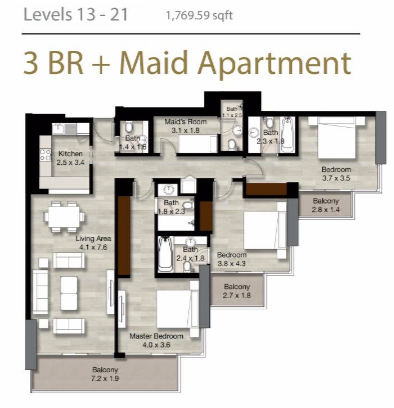 Planning of the apartment 3BR, 1769.59 in LIV Residence Apartments, Dubai