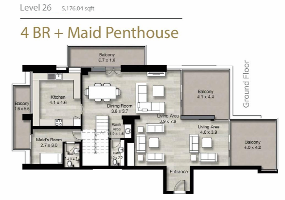 Planning of the apartment Penthouses, 5176.04 in LIV Residence Apartments, Dubai