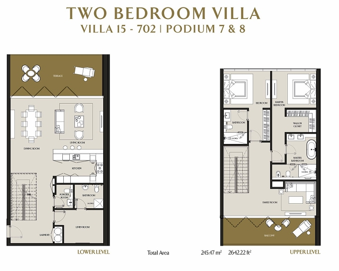 Planning of the apartment Villas, 2642.22 in LIV Residence Apartments, Dubai