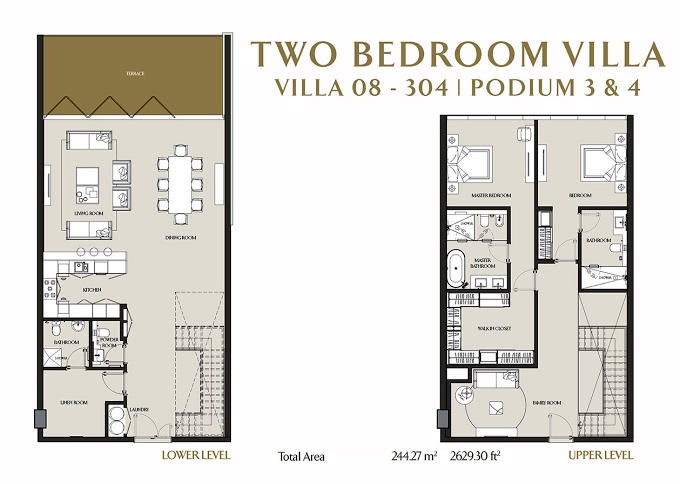 Planning of the apartment Villas, 2629.3 in LIV Residence Apartments, Dubai