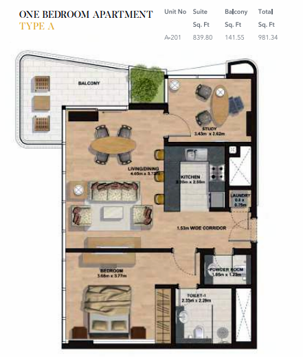 Planning of the apartment 1BR, 981.34 in Gemini Splendor Apartments & Townhouses, Dubai