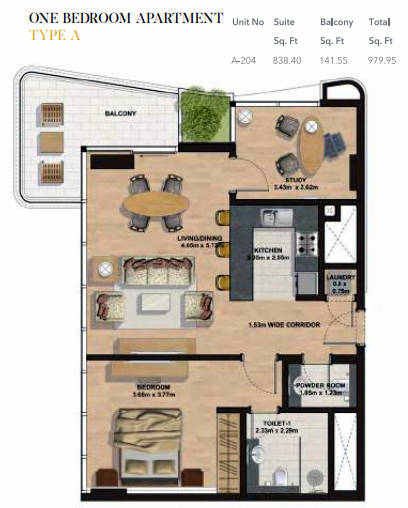 Planning of the apartment 1BR, 979.95 in Gemini Splendor Apartments & Townhouses, Dubai