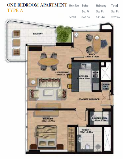 Planning of the apartment 1BR, 982.96 in Gemini Splendor Apartments & Townhouses, Dubai