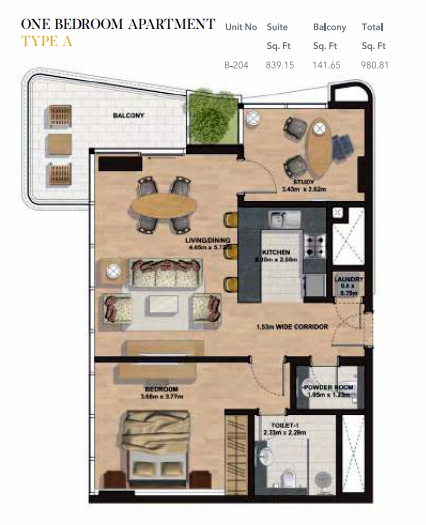 Planning of the apartment 1BR, 980.81 in Gemini Splendor Apartments & Townhouses, Dubai