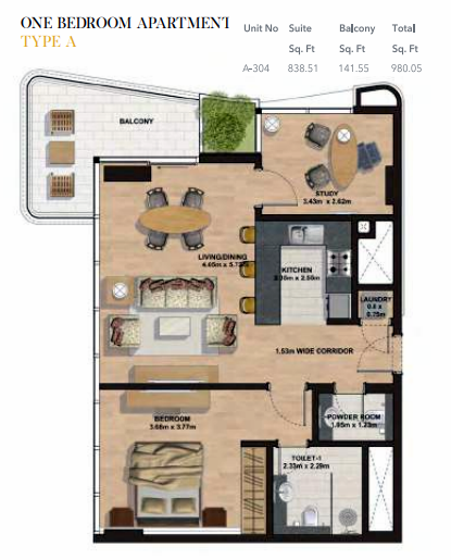 Planning of the apartment 1BR, 980.05 in Gemini Splendor Apartments & Townhouses, Dubai