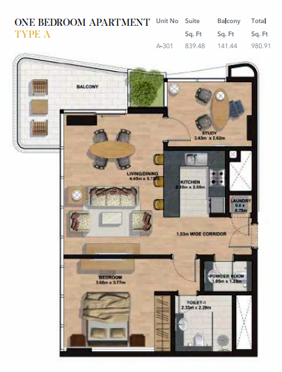 Planning of the apartment 1BR, 980.91 in Gemini Splendor Apartments & Townhouses, Dubai