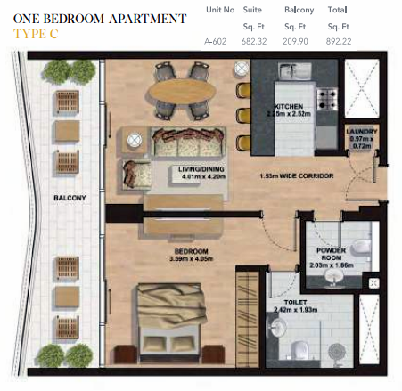 Planning of the apartment 1BR, 892.22 in Gemini Splendor Apartments & Townhouses, Dubai