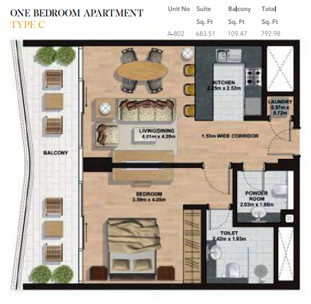 Planning of the apartment 1BR, 792.98 in Gemini Splendor Apartments & Townhouses, Dubai