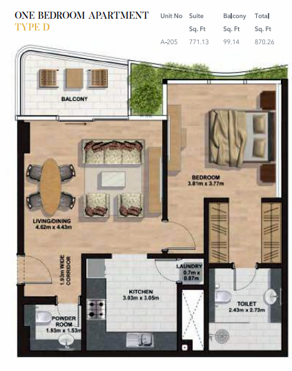 Planning of the apartment 1BR, 870.26 in Gemini Splendor Apartments & Townhouses, Dubai