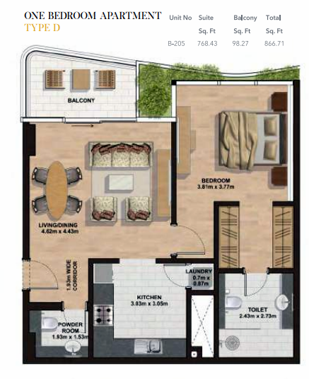 Planning of the apartment 1BR, 866.71 in Gemini Splendor Apartments & Townhouses, Dubai