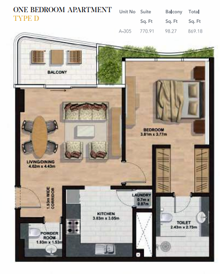 Planning of the apartment 1BR, 869.18 in Gemini Splendor Apartments & Townhouses, Dubai