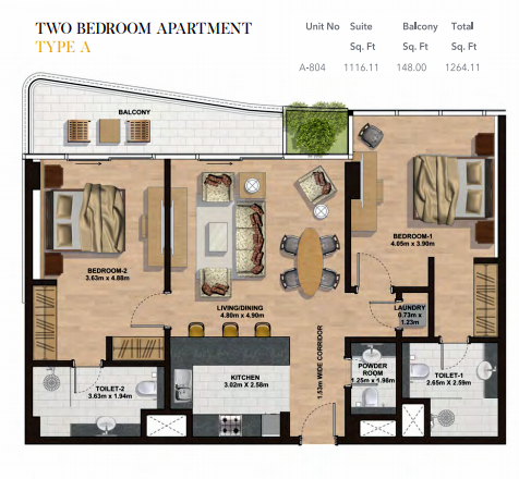 Planning of the apartment 2BR, 1264.11 in Gemini Splendor Apartments & Townhouses, Dubai