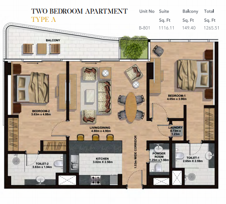 Planning of the apartment 2BR, 1265.51 in Gemini Splendor Apartments & Townhouses, Dubai