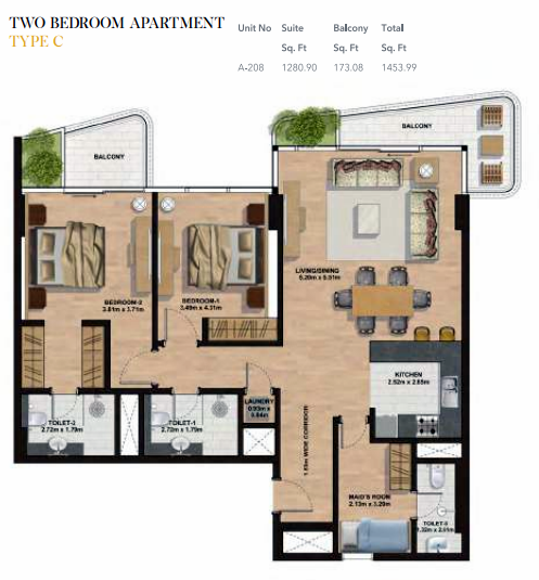 Planning of the apartment 2BR, 1453.99 in Gemini Splendor Apartments & Townhouses, Dubai