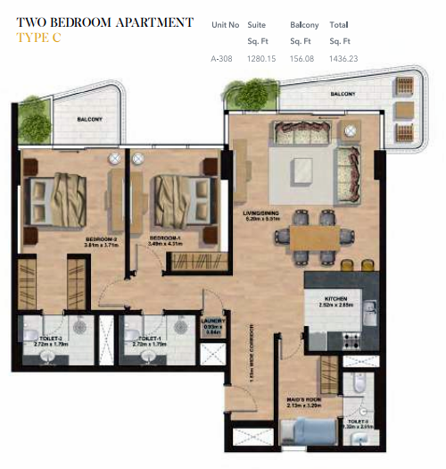 Planning of the apartment 2BR, 1436.23 in Gemini Splendor Apartments & Townhouses, Dubai