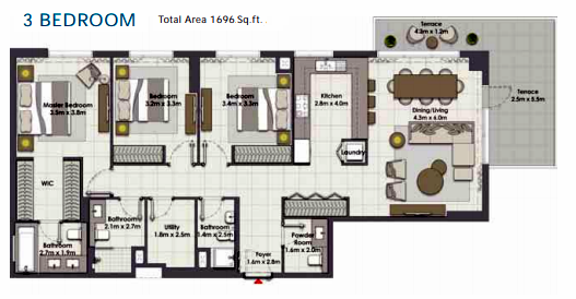 Planning of the apartment 3BR, 1696 in Island Park, Dubai