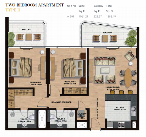 Planning of the apartment 2BR, 1283.49 in Gemini Splendor Apartments & Townhouses, Dubai