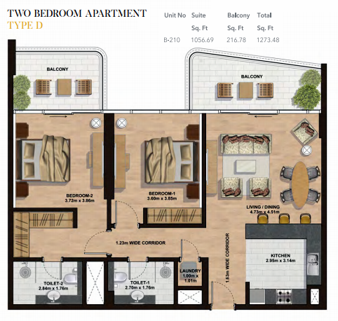 Planning of the apartment 2BR, 1273.48 in Gemini Splendor Apartments & Townhouses, Dubai