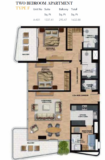 Planning of the apartment 2BR, 1632.88 in Gemini Splendor Apartments & Townhouses, Dubai