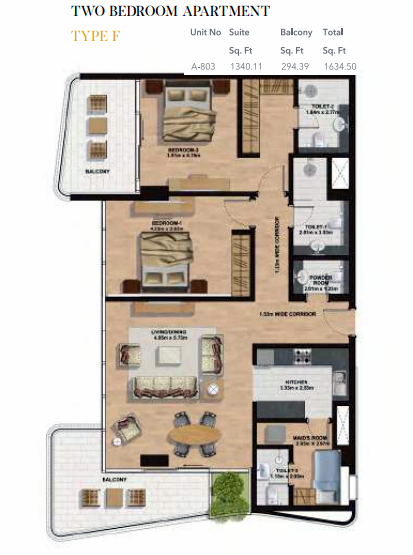 Planning of the apartment 2BR, 1634.5 in Gemini Splendor Apartments & Townhouses, Dubai