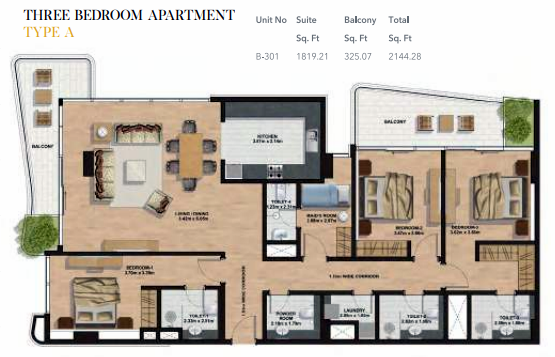 Planning of the apartment 3BR, 2144.28 in Gemini Splendor Apartments & Townhouses, Dubai