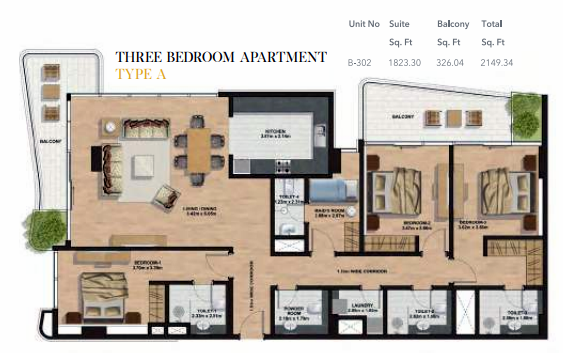 Planning of the apartment 3BR, 2149.34 in Gemini Splendor Apartments & Townhouses, Dubai
