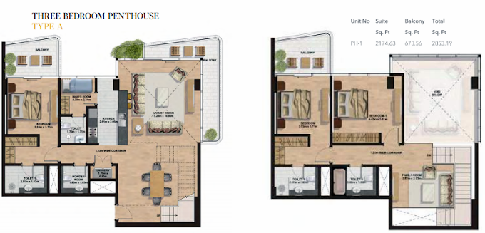 Planning of the apartment Penthouses, 2853.19 in Gemini Splendor Apartments & Townhouses, Dubai